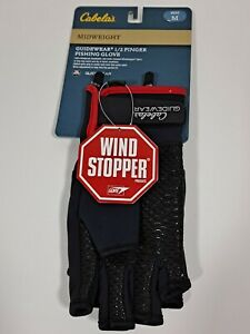 Cabelas Guidewear GORE Windstopper Medium 1/2 Finger Neoprene Fishing Gloves