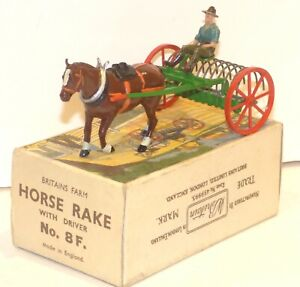 HD18 Britains rare post WW2 diecast 8F Horse Rake in duck and egg box VGC
