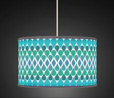 40 cm Aqua Green Teal Tear drop Retro Geometric Handmade Giclee  lampshade 492