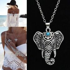 Women Fashion Silver Plated Elephant Design Pendant Necklace Indian Jewelry DT47