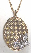 Vintage 80's Butterfly Glass Crystal Rhinestone Pendant Necklace Yellow Clear