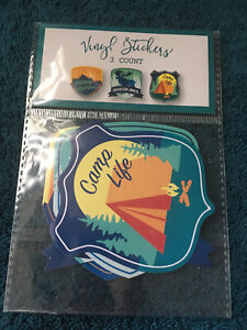 Vinyl Camping Stickers  3 count package