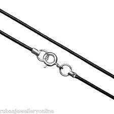 """1 mm de 16 """" / 41 Cms Original cordón de cuero Negro Collar Plata Esterlina 925 Broche"""