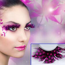 Exaggerated Rose Red Spots Feather Makeup False eyelashes wholesale masquerade