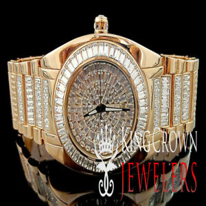 MEN'S 14K ROSE GOLD FINISH DIAMOND SIMULATE BLING MASTER CUSTOM ICY WRIST WATCH