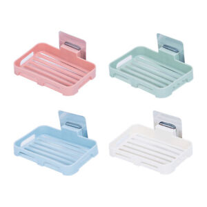 Wall Mounted Soap Dish Holder Storage Box Tray Bath Shower Bathroom Plate Home