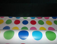 Polka Dot Tablecloth Vinyl PVC Oilcloth, Wipe/Clean Easy, Fabric, Material