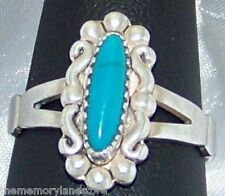 DAINTY VINTAGE ESTATE TURQUOISE STERLING SILVER RING by WM Co., SIZE 6.75 or N