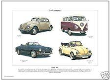CLASSIC VW  Fine Art Print - Volkswagen Beetle Convertible Karmann Ghia Microbus