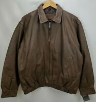 Mens Leather Insulated Bomber Jacket Coat Size Large Brown Full Zip St Johns Bay