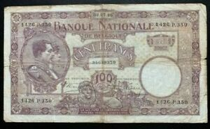 Superb Rare Vintage 1925 Belgium 100 Francs Banknote in VF Condition