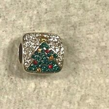 Brighton Blingy tree spacer charm - Christmas tree crystals green clear red