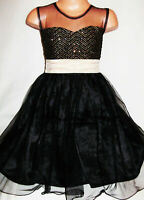 GIRLS BLACK GOLD GLITTER PRINT TULLE CONTRAST PRINCESS PROM PARTY DRESS age 8-9