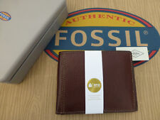 FOSSIL RFID Protected Wallet Tyler Int Rich Brown Grain Leather Wallets in Tin