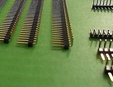 """Pin Header 40 Way SIL Right Angle 2.54 0.1"""" Gold Type A Flush End PCB x 10pcs"""