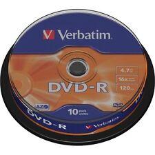 10 Verbatim Rohlinge Dvd-r 4 7gb 16x Spindel