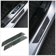 2x Carbon Fiber Car Scuff Plate Rear Door Sill Cover Panel Step Protector Guard