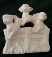 HAEGER 3-Lamb planter figurine USA Art Pottery Vintage Collectible light Pink