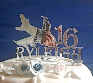 Acrylic Aeroplane plane boys any Name/age birthday cake topper decorations