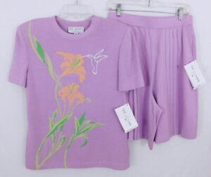 St. John Collection Lilac Knit Hummingbird Sweater & Shorts Set M NWT - $640