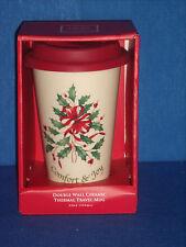 Lenox Comfort & Joy Travel Ceramic Thermal Mug Holly