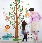 Jungle Animals Owls Bird Height Chart Tree Wall Stickers Kids Art Nursery Decals