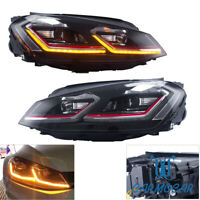 For 15-17 MK7 VW Golf/GTI Facelift Projector Headlights LED w/Switchback DRL-RED