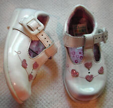 Clarks Girls white patent leather + pink hearts buckle Tbar shoes UK 4 F EU 20 M