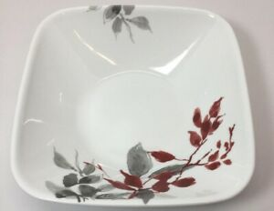 Corelle KYOTO LEAVES Square 1.4 Qt SERVING BOWL Japanese Watercolor Red Gray