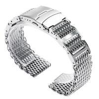 20/22/24mm Silver Bracelet Stainless Steel Shark Mesh Watch Band Wrist Strap HQ