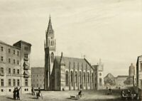 H.WINKLES(19.Jh. GB), Ansicht der Alten Trinitatskirche zu Leipzig, Stahlstich