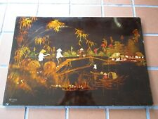"""Vintage Wood lacquer Hanoi LE SANG life on Vietnamese river country scene 23½""""W"""