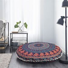 """32"""" INCHE INDIAN MANDALA ROUND COVER TAPESTRY FLOOR CUSHION PILLOW POUF COVER"""