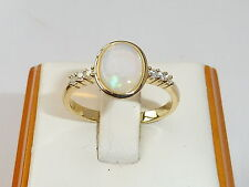 Ladies 18 Gold on Solid Sterling 925 Silver White Sapphire & 1 Carat Opal Ring