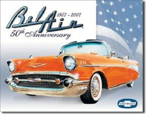 New Chevy Bel Air 50th Anniversary Decorative Metal Tin Sign