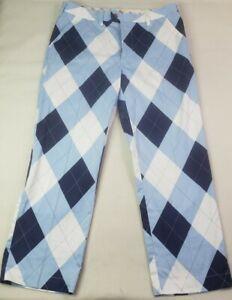 Loud Mouth Golf Mens Pants Size 36x30 Blue White Diamond Print Athletic
