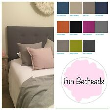 FUN BEDHEADS  King Size Dolly Cement Button Upholstered Bedhead