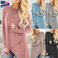 Womens Long Sleeve Irregular Hem T-shirt Tunic Tops Round Neck Blouse Shirts US