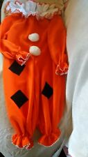 Halloween Costume Orange Clown With Ruffled Neck Band Children's size 10-12