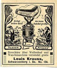 Louis Krauss Schwarzenberg i.S. WELLENBAD SYSTEM KRAUSS Annonce von 1906