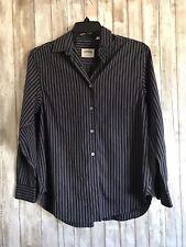 LORENZINI Navy Blue Burgundy Stripe Mens Button Down Dress Shirt 14 1/2 * ITALY*