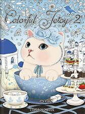 Colorful Jetoy Cat Coloring Book For Adults Cute Cat Choo Choo Vol.2 Anti Stress