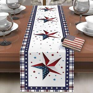 4th Of July Decor Patriotic Table Runner Decoration Linen Stripe Star 13inx72in
