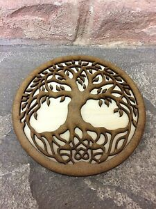 Tree of Life Altar Tile Wiccan Wicca Wooden Altar Plate 12cm Paten Plaque Tools