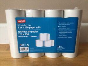 Staples 2 1/4 X 130 Paper Rolls 12 Pack for Calculators Cash Register New Sealed
