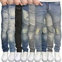 Seven Series Mens Designer Branded Skinny Fit Ripped Distressed Jeans, BNWT