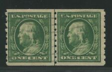 1910 US Coil Stamps #392 1c Used VF Grid Postal Cancel Guide Line Pair Certified