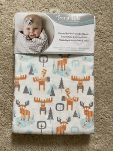 "BNWT Trend Lab Jumbo Deluxe Flannel Swaddle Blanket, Winter Moose Print, 48""x48"""