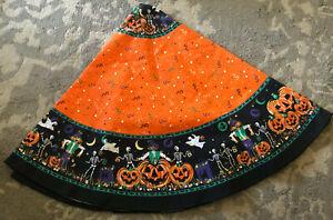 "Vtg 70"" Round Halloween Scarecrow Ghost Skeleton Bats Jack & More Tablecloth"