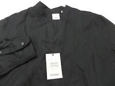 MURANO Baird McNutt Men's Black LINEN Mandarin Collar Shirt Size XL